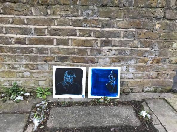 Rodin on the street, acrylic on a tile