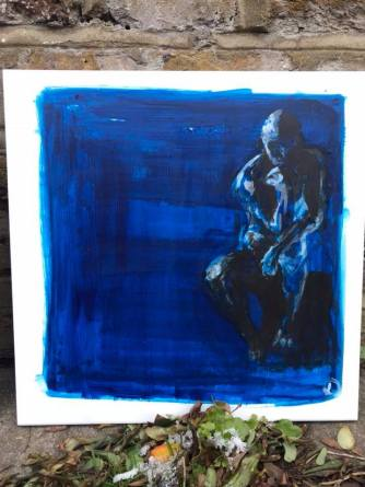 Rodin's Thinker, acrylic on a tile