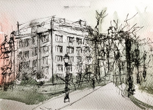 Along Jardin du Roi, Brussels, Belgium; Watercolour and ink on paper, 15x21 cm; 2020